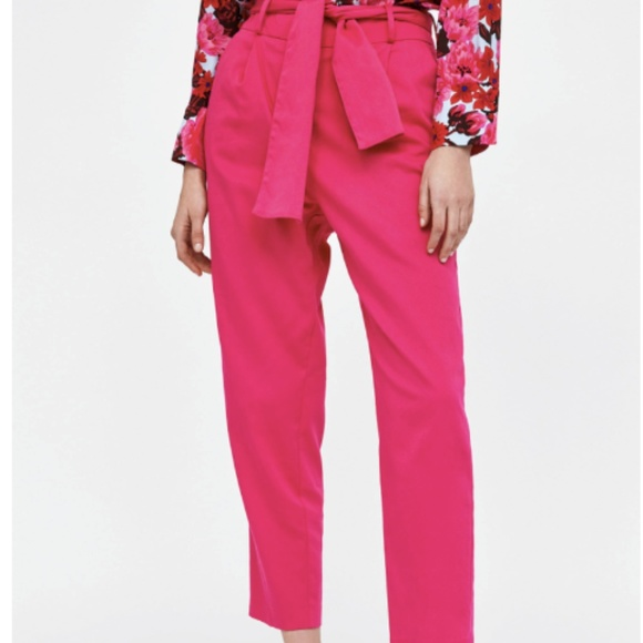 b12e2d6a Zara Pants | High Waisted Hot Pink Trouser With Belt | Poshmark